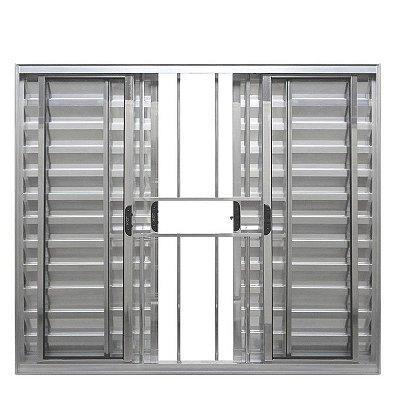 PRONTA ENTREGA - Janela Veneziana em Alumínio Brilhante 6 Folhas com Grade Vidro Liso Incolor - Linha Normatizada Lux Esquadrias