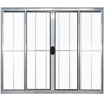 PRONTA ENTREGA - Janela de Correr em Alumínio Brilhante 4 Folhas Com Grade Vidro Liso Incolor - Linha Normatizada Lux Esquadrias