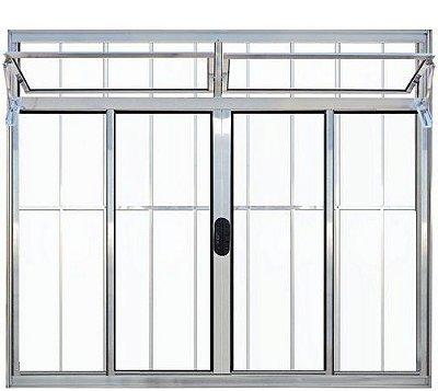 PRONTA ENTREGA - Janela de Correr em Alumínio Brilhante 4 Folhas Com Bandeira e Grade Vidro Liso Incolor - Linha Normatizada Lux Esquadrias
