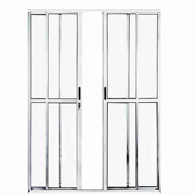 PRONTA ENTREGA - Porta de Correr em Alumínio Branco 4 Folhas Vidro Liso Com Fechadura - Linha Max Lux Esquadrias