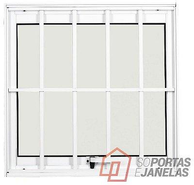 PRONTA ENTREGA - Janela Maxim-ar em Alumínio Branco uma Seção com Grade Vidro Mini Boreal - Linha Max Lux Esquadrias