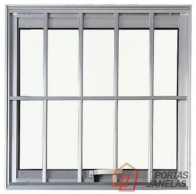 PRONTA ENTREGA - Janela Maxim-ar em Alumínio Brilhante uma Seção com Grade Vidro Mini Boreal - Linha Max Lux Esquadrias