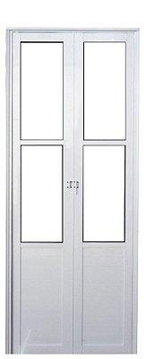 PRONTA ENTREGA - Porta Camarão em Alumínio Branco Lambril Com Vidro Mini Boreal - Linha Premium Lux Esquadrias