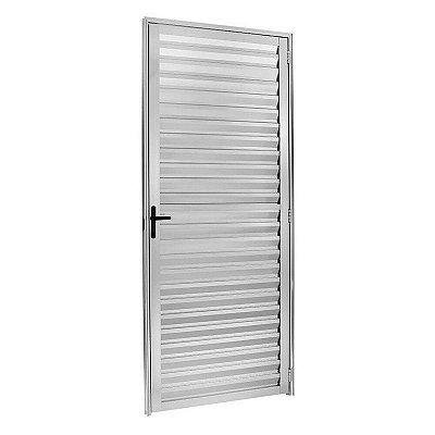 PRONTA ENTREGA - Porta de Abrir (Giro) em Alumínio Brilhante Palheta Sem Ventilação - Linha 25 Esquadrisul