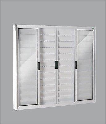 PRONTA ENTREGA - Janela Veneziana em Alumínio Branco 6 Folhas Vidro Liso Incolor - Linha FortSul Esquadrisul