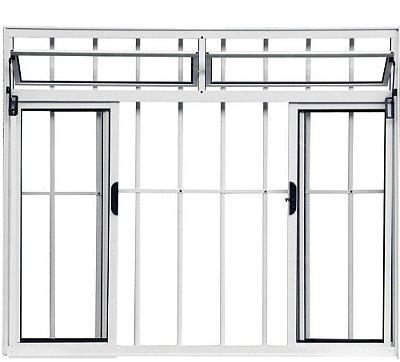 Janela de Correr em Alumínio Branco 4 Folhas com Bandeira e Grade Vidro Liso Incolor - Linha Moderna