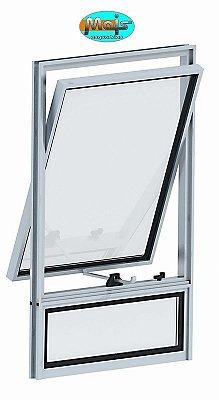 Janela Maxim-ar em Alumínio Branco Uma Seção com Bandeira Inferior Fixa Vidro Mini Boreal - Linha 16 Mais Esquadrias