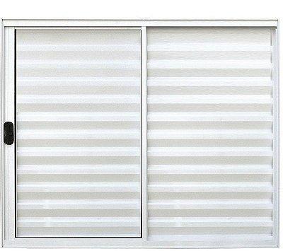 Janela Veneziana em Alumínio Branco 3 Folhas Uma Fixa Vidro Liso Incolor - Linha Normatizada Lux Esquadrias