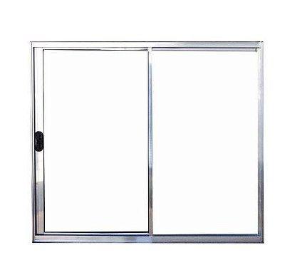 Janela de Correr em Alumínio Brilhante 2 Folhas Uma Fixa Vidro Liso Incolor - Linha Normatizada Lux Esquadrias