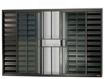 Janela Veneziana em Alumínio Preto 6 Folhas com Grade Vidro Liso Incolor - Linha Confort Brimak