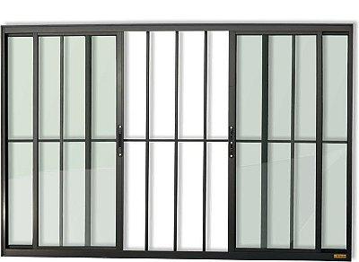 Janela de Correr em Alumínio Preto 4 Folhas Com Grade Vidro Liso Incolor - Confort Brimak