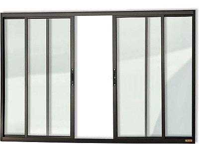 Janela de Correr em Alumínio Preto 4 Folhas Vidro Liso Incolor - Confort Brimak