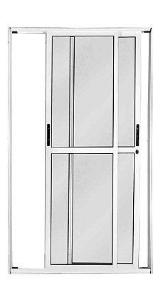 Porta de Correr em Alumínio Branco 2 Folhas Móveis Vidro Liso Com Fechadura - Linha 25 Premium Lux