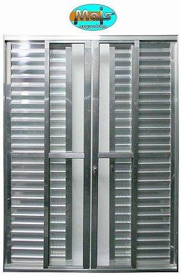 Porta Balcão em Alumínio Brilhante 6 Folhas Vidro Liso e Veneziana Com Fechadura - Linha 25 Mais Esquadrias