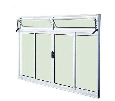 Janela de Correr em Alumínio Branco 4 Folhas Com Bandeira Vidro Liso Incolor - Linha Modular Esap