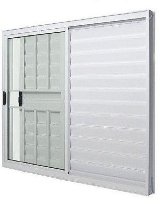 Janela Veneziana em Alumínio Branco 3 Folhas Uma Fixa com Grade Vidro Liso Incolor - Linha Modular Esap