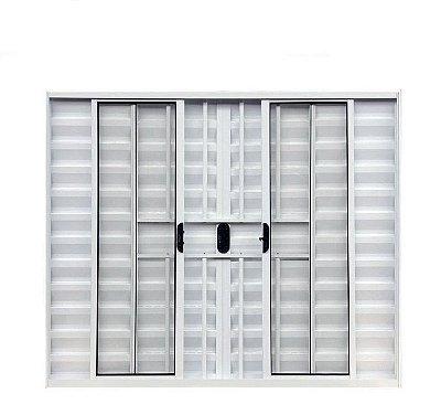 Janela Veneziana em Alumínio Branco 6 Folhas com Grade Vidro Liso Incolor - Linha Modular Esap