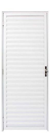 Porta de Abrir (Giro) em Alumínio Branco Palheta Sem Ventilação - Linha 25 Esap