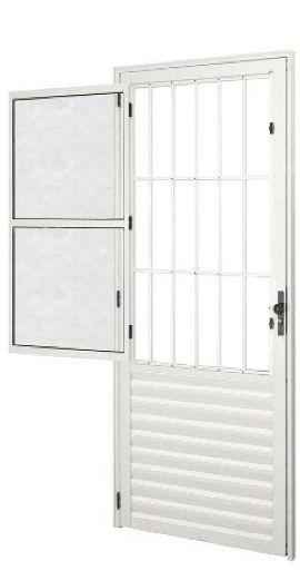 Porta de Abrir (Giro) em Alumínio Branco Social com Postigo Vidro Canelado - Linha 25 Esap