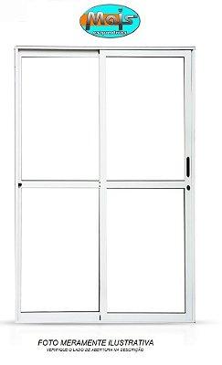 Porta de Correr em Alumínio Branco 2 Folhas Uma Fixa Vidro Liso Com Fechadura - Linha 25 Mais Esquadrias