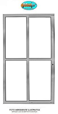Porta de Correr em Alumínio Brilhante 2 Folhas Uma Fixa Vidro Liso Com Fechadura - Linha 25 Mais Esquadrias