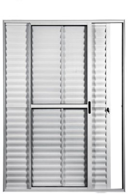 Porta Balcão em Alumínio Branco 3 Folhas Uma Fixa Vidro Liso e Veneziana Com Fechadura - Linha Max Lux Esquadrias