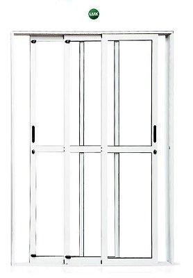 Porta de Correr em Alumínio Branco 3 Folhas Móveis de Vidro com Fechadura - Linha 25 Premium Lux
