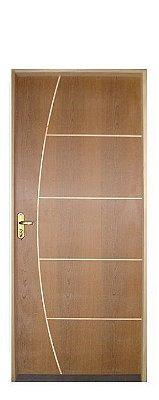 Porta de Abrir (Giro) em Madeira Semi Oca Imbuia Belí 4 Riscada com Fechadura e Maçaneta Externa Navas Batente de 14 cm  - Uniportas