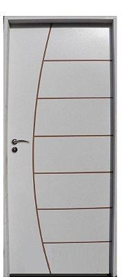 Porta de Abrir (Giro) Belíssima em Madeira Semi Oca HDF Pintura Branca Primer Com Fechadura Stan Externa Roseta Batente de 14 cm - Uniportas