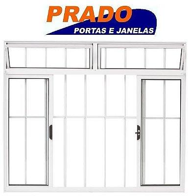 Janela de Correr em Alumínio Branco 4 Folhas com Bandeira e Grade Vidro Liso Incolor - Linha Normatizada Prado