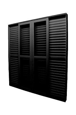Porta Balcão Em Alumínio Preto 6 Folhas Vidro Liso E Veneziana Com Fechadura - Jap Perfecta Max