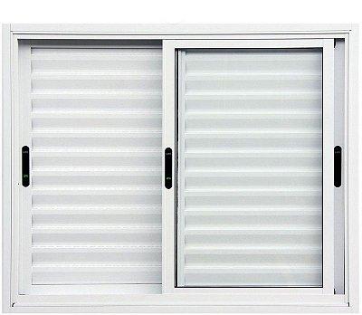 Janela Veneziana em Alumínio Branco 3 Folhas Móveis Vidro Liso Incolor - Linha Premium Lux Esquadrias
