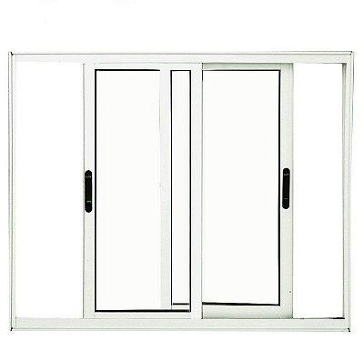 Janela de Correr em Alumínio Branco 2 Folhas Móveis Vidro Liso Incolor - Linha Premium Lux Esquadrias