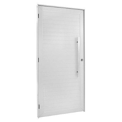 Porta De Abrir (Giro) em Alumínio Branco Com Lambril Puxador - Linha FortSul - L25