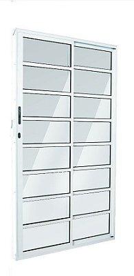 Porta de Correr em Alumínio Branco 2 Folhas de Vidro com Travessa e Fechadura - Linha 25 Esquadrisul