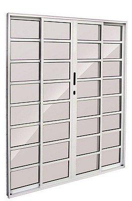 Porta de Correr em Alumínio Branco 4 Folhas de Vidro Com Travessa e Fechadura - Linha 25 Esquadrisul