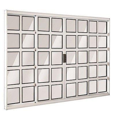 Janela de Correr em Alumínio Branco 4 Folhas Quadriculado Vidro Liso Incolor - Linha Top Esquadrisul