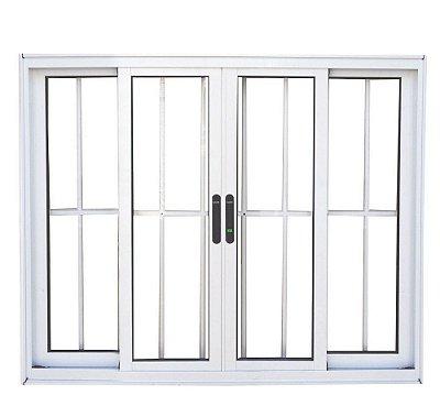 Janela de Correr em Alumínio Branco 4 Folhas com Grade Vidro Liso Incolor - Linha Premium Lux Esquadrias