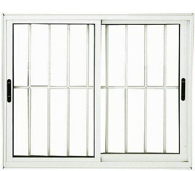 Janela de Correr em Alumínio Branco 2 Folhas Móveis com Grade Vidro Liso Incolor - Linha Premium Lux Esquadrias