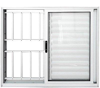 Janela Veneziana em Alumínio Branco 3 Folhas Uma Fixa com Grade Vidro Liso Incolor - Linha Premium Lux Esquadrias