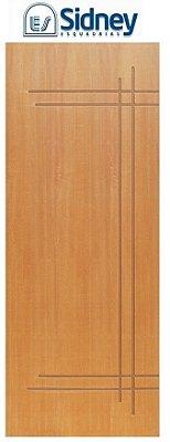Porta de Abrir (Giro) Montada ES61 Padrão Imbuia Riscada Fechadura e Maçaneta Roseta Externa Batente de 14 cm - Sidney Esquadrias