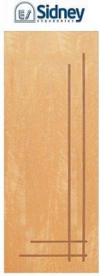 Porta de Abrir (Giro) Montada ES63 Padrão Imbuia Riscada Fechadura e Maçaneta Roseta Externa Batente de 14 cm - Sidney Esquadrias