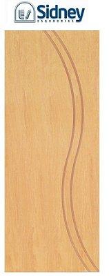 Porta de Abrir (Giro) Montada ES69 Padrão Imbuia Riscada Fechadura e Maçaneta Roseta Externa Batente de 14 cm - Sidney Esquadrias