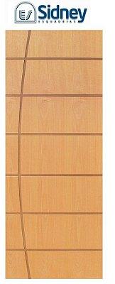 Porta de Abrir (Giro) Montada ES71 Padrão Imbuia Riscada Fechadura e Maçaneta Roseta Externa Batente de 14 cm - Sidney Esquadrias