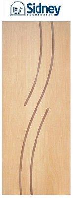 Porta de Abrir (Giro) Montada ES101 Padrão Imbuia Riscada Fechadura e Maçaneta Roseta Externa Batente de 14 cm - Sidney Esquadrias
