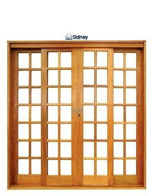 Porta de Correr em Madeira Imbuia 4 Folhas Reta Quadriculada sem Vidro com Ferragem Batente 14 cm - Sidney Esquadrias