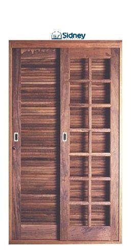 Porta Balcão em Madeira Imbuia 3 folhas Reta Uma Fixa Reta com Veneziana Vidro Quadriculado e Ferragens Batente de 14 Cm - Sidney Esquadrias