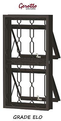 Janela Maxim-Ar em Aço duas Seções Vertical com Grade (3 opçôes de Grade) sem Vidro - Requadro 12 cm - Linha Prata Gerotto