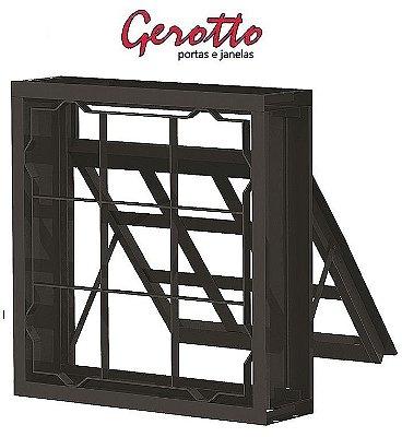 Janela Maxim-Ar em Aço uma Seção Quadriculado com Grade Quadriculada sem Vidro Requadro 12 cm - Linha Prata Gerotto