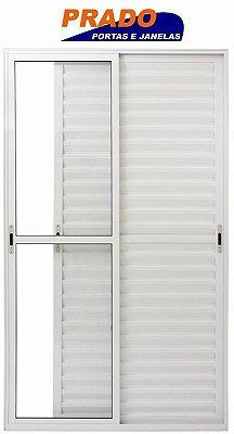 Porta Balcão em Alumínio Branco 3 Folhas Móveis Vidro Liso Com Trico - Linha 25 Prado